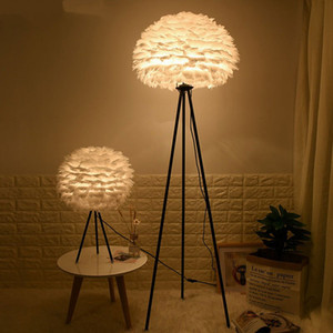 Wholesale Modern Feather Floor Lamp Living Room Bedroom Led Standing Lamp Nordic Decor bedside Wedding Floor Lighting Fixtures Luminaire