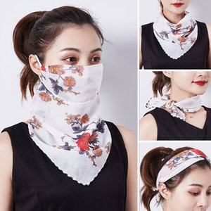 2020 Women Fashion Masks Lightweight Chiffon Face Mask Headband Outdoor Protective Riding Sunscreen Windproof Masks Silk Scarfves L96FA