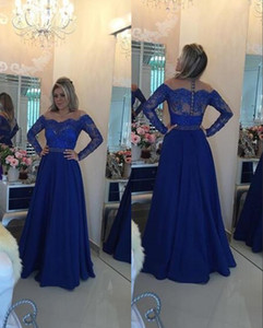 Wholesale Royal Blue Cheap Prom Dresses Long Illusion Lace Long Sleeves Chiffon Crystal Beaded Hollow Back Full Length Evening Formal Gowns
