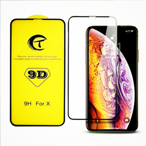 Wholesale New for Iphone xs max xr x plus D curved full screen tempered glass screen protector film with retail package factory price