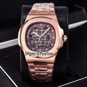 Wholesale gold globe resale online - New Classic Rose Gold Brown Skeleton Globe Dial A2813 Automatic Mens Watch Stainless Steel Sports Watches Cheap Puretime PB301B2