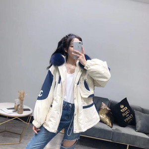 Wholesale Real Fur Coat Natural Navy Blue Fur Collar Winter Jacket Women Loose Short Down Coat White Duck Down Jacket Thick Warm