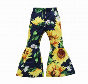 Wholesale Flare Pants for Girls Sunflower Cherry Trousers Elastic Waist Casual Cotton Bell Bottom Children Kids Clothes FY002