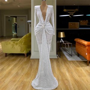 White Sequins beading Formal Evening Dresses For Dubai Arabic Robe De Soiree 2020 New V Neck Long Pageant Gowns Women Prom Dress on Sale