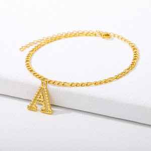 Wholesale alphabet z bracelets resale online - Small Initial Anklet Women Girl Alphabet Jewelry Optional A Z Letter Ankle Bracelet Stainless Steel Leg Foot Chain Dropshipping