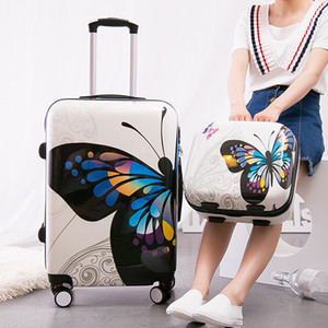 Wholesale Women Vintage Butterfly Luggage Set Large Capacity Rolling Suitcase Cosmetic Pouch ABS PC Business Trolley Bags