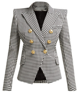 New Top Quality Original Design Women's Classic Houndstooth Double-Breasted Blazer Slim Jacket Metal Buckles Blazer suit collar outwear