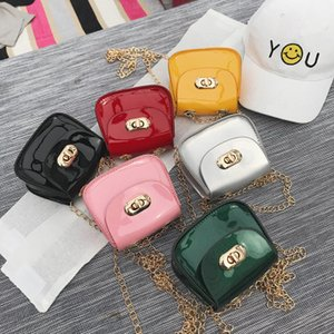 Kids Purses 2019 Newest Korean Mini Princess Purses Girls Leather Glossy Small Square Bags Chain Cross-body Bags Birthday Gifts