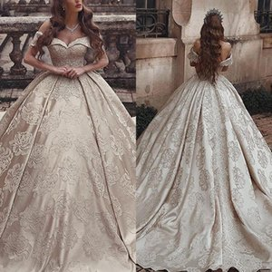 Wholesale Gorgeous Champagne Ball Gown Wedding Dresses Elegant Off Shoulders Flora Appliques Bridal Gowns Dubai Robe de marriage
