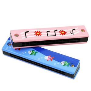 2019 SAGITAR Wooden Harmonica for Children Toys 16 Holes Double-Row Blow Cartoon Color Woodwind Mouth Harmonica Melodica