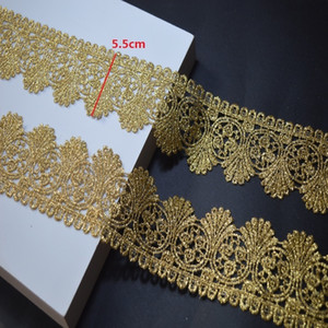 Wholesale somelace yards golden fabric Wedding Dress Beaded Lace Applique Gold Thread Embroidery Accessories Trim