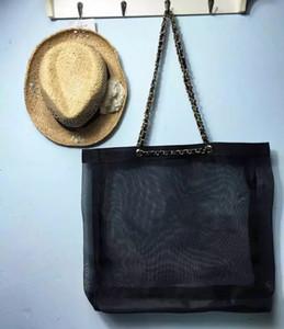 Vip gift Fashion C women Large-capacity mesh shopping bag ladies chain bag tote bag luxury pattern Storage mesh Case
