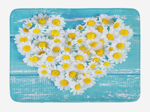 Wholesale Yellow and Blue Doormat Heart Shaped Daisy Flowers Romantic Love Valentine s Chamomile Blossoms Home Decor Door Floor Mat Rugs