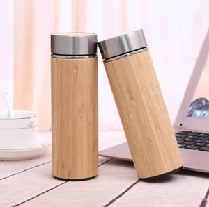 Wholesale Natural Bamboo Tumbler ml ml Stainless Steel Water Bottle Vacuum Flasks Insulated Bottles Bamboo Cup LX6076