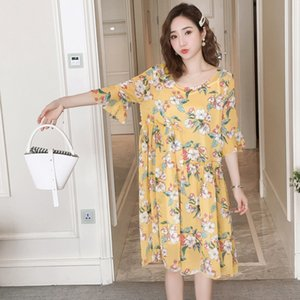 Wholesale New maternity dress summer new thin silk wrinkle chiffon two piece dress Korean fashion print pregnancy skirt