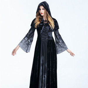 Wholesale Halloween Dress Skull Halloween Witch Costume New Long Section of The Vampire Queen Costume Ghost Bride Dress Performance Apparel