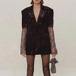 2020 Springl Runway Designer Deep V Neck Sexy Woman Black Blazers Coats Beads Mesh Crystal Long Sleeve Tops