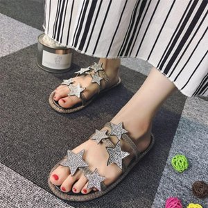 Fashion Star Buckle Women Sandals Peep Toe Slip On Female Slides Soft Rubber Heels Womens Flats Girl Beach Shoes Brand Designers