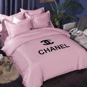 Wholesale Brand Letter Printed Bedding Sets Designer Household Bedroom Washed Silk Bedding Cover Queen Size Bed Comforters Sets