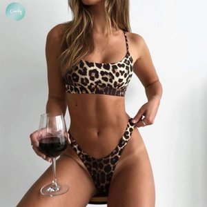 Wholesale Leopard Print Bikinis Set Push Up Padded Bra Swimwear Women Bikini Sexy High Waist Beach Thong Trajes Bano