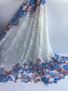 Wholesale High Quality African Lace Fabrics White Color African Mesh Cord Lace Factory Price Guipure Lace Fabrics For Wedding Yards