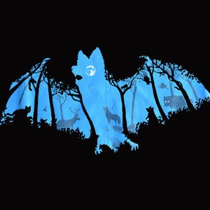Wholesale Dark Night BATS Forest FULL MOON Mens T SHIRT Vampire Camouflage Animal Tee Classic Quality High T shirt Style Round Style Tshirt