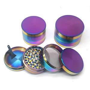 Wholesale rainbow smoke cigarettes for sale - Group buy Ice Blue Grinder Rainbow color mm Layer Zinc Alloy Herb Grinder Cigarette Smoking Spice Crusher VS Sharp Stone Grinders