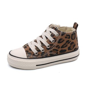 Children Canvas Shoe 2019 Spring Fashion Leopard Flats Casual Kids Autumn High Top Students Girls Boys Walking Sneakers