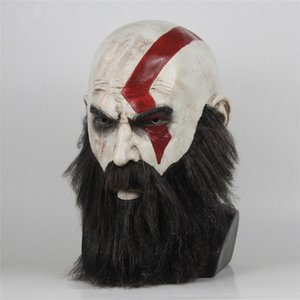 máscara de dios al por mayor-Juego God Of War Mask Cosplay Kratos Latex Mask Halloween Scary Horror Masquerade Party Decorations Party Props DropShipping