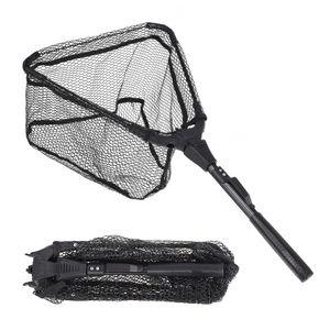 S M Folding Fish Landing Net Portable Collapsible Triangular Fishing Net Fish Aluminum alloy + Nylon + Rubber Fishing