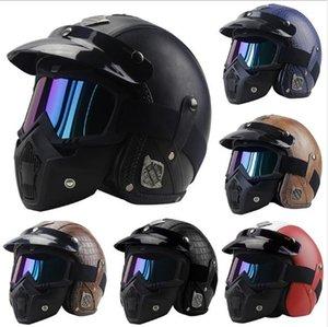 Vintage 3 4 Leather Helmets Motorcycle Helmet Open Face Chopper Bike Helmet Motorcycle Helmet Moto Motocros Visor
