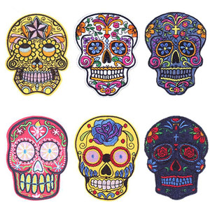 Wholesale Punk Rock Skull Patches Embroidered Iron On Patches For Clothing Biker Style Rose Flower Sticker On Clothes Applique DIY