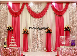 3m*6m wedding backdrop swag Party Curtain Celebration Stage Performance Background Drape With Beads Sequins Edge 5 colors abailable