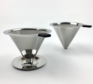 Wholesale Reusable Coffee Filter Stainless Steel Holder Metal Mesh Funnel Baskets Drif Coffee Filters Dripper v60 Drip Coffee Filter Cup