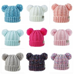 Wholesale Baby Hats Crochet Double Pompom Hat For Baby Girls Winter Kids Caps With Pompom Faux Fur Children s Hats Caps Colors Xmas Gifts