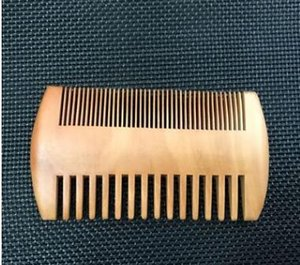Wholesale double wood hair combs resale online - Pocket Wooden Beard Comb Double Sides Super Narrow Thick Wood Combs Pente Madeira Lice Pet Hair Tool