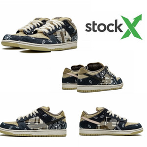 2020 Travis x Scotts SB Dunk low running shoes Black Parachute Beige Petra Brown Black Athletic Skateboarding sports Trainers Stock X