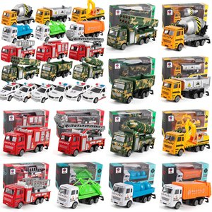 Wholesale Children s Toys Model Toys Green Car Police Car Mixer Fire Truck Cement Truck Educational Toy Car ABS Shell Simulation Model
