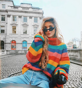 2019 Europe and the United States new fashion women's color striped knit pullover sneakers through the explosion of warm and large size swea