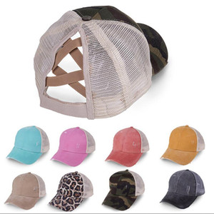 Ponytail Baseball Cap 18colors Criss Cross Washed Cotton Trucker Caps Summer Snapback Hat Sport Hip Hop Visor OOA8095