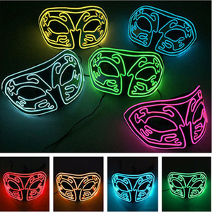 Wholesale EVA luminous fox mask EL Cold Light Glow Mask Dance Party Halloween Horror Flash Mask Masquerade Ball Personality Decoration T9I0084