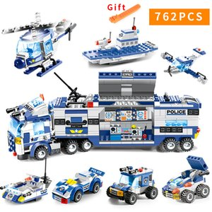 762pcs City Police Series Swat 8 In 1 City Police Truck Station Compatible Legoes Building Blocks Small Bricks Toy For ChildrenMX190820 on Sale