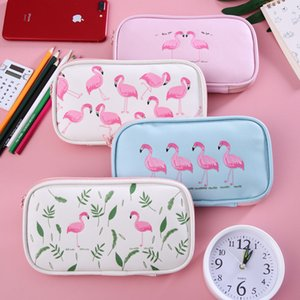 Wholesale Cartoon Flamingo Pencil Box Zipper Pen Case High Capacity Multi Function Stationery Bag Student Simplicity Mesh Cloth mxb1