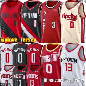 Russell 0 Westbrook Jerseys James 13 Harden Jerseys Damian 0 Lillard Jersey McCollum Jerseys Portland Houston Trial Rocket Blazer