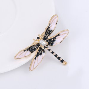 Wholesale Crystal Vintage Dragonfly Brooches for Women Large Insect Brooch Pin Fashion Dress Coat Accessories Cute Jewelry
