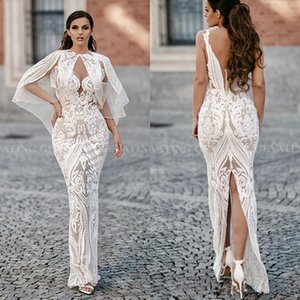 Elegant Arabic White Evening Dresses with Cape Sexy V Neck Backless Slit Back Ankle Length Prom Gowns on Sale