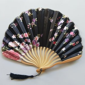 Wholesale Wedding Fan Vintage Bamboo Folding Hand Held Flower Shell Shape Fan Japanese Style Fan Party Gifts for Lady Mother Day Colors