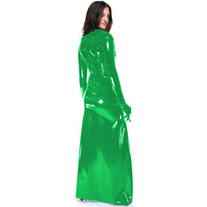 12 Clors Sexy Gloved Long Dress Women Novelty Long Sleeve Clubwear Wet Look PVC Catwoman Cosplay Costume Back Zipper Club Dress
