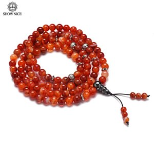 Wholesale 108 Natural Red Banded Onyx Beads Stone Bracelets Chakra Healing Buddhist Prayer Carnelian Beads Necklace For Women Men Gifts