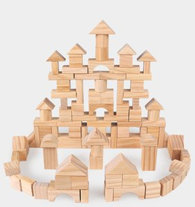 Wholesale Wooden Building Blocks With Storage Bucket Multiple Combinations Early Childhood Educational Toys for Years and up Kids